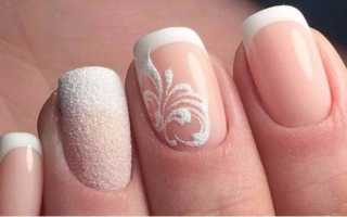 Ногти белый френч с рисунком фото